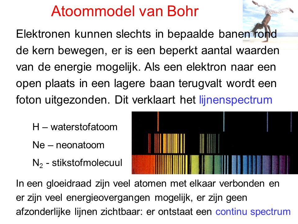 Atoommodel van Bohr Elektronen kunnen slechts in bepaalde banen rond