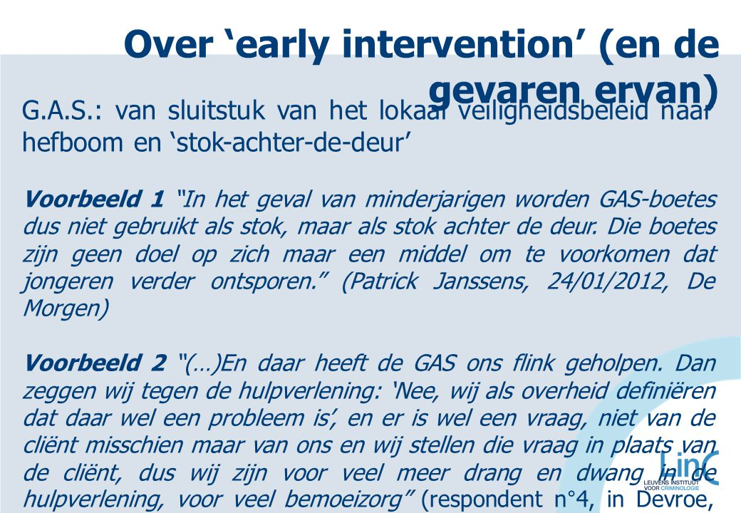 Over 'early intervention' (en de gevaren ervan)