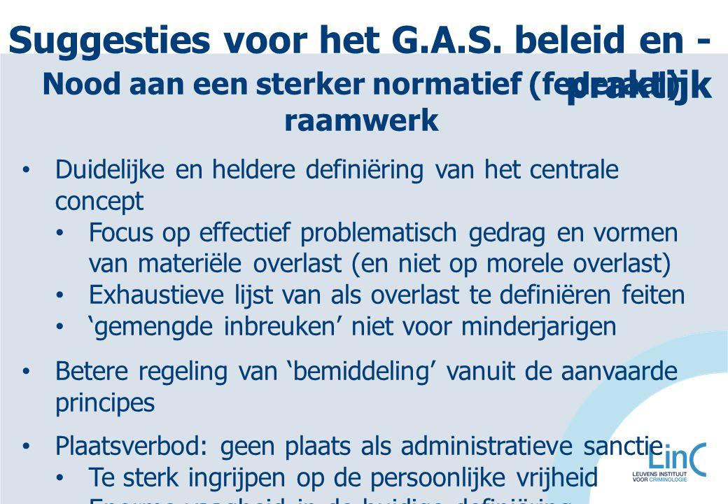 Suggesties voor het G.A.S. beleid en -praktijk
