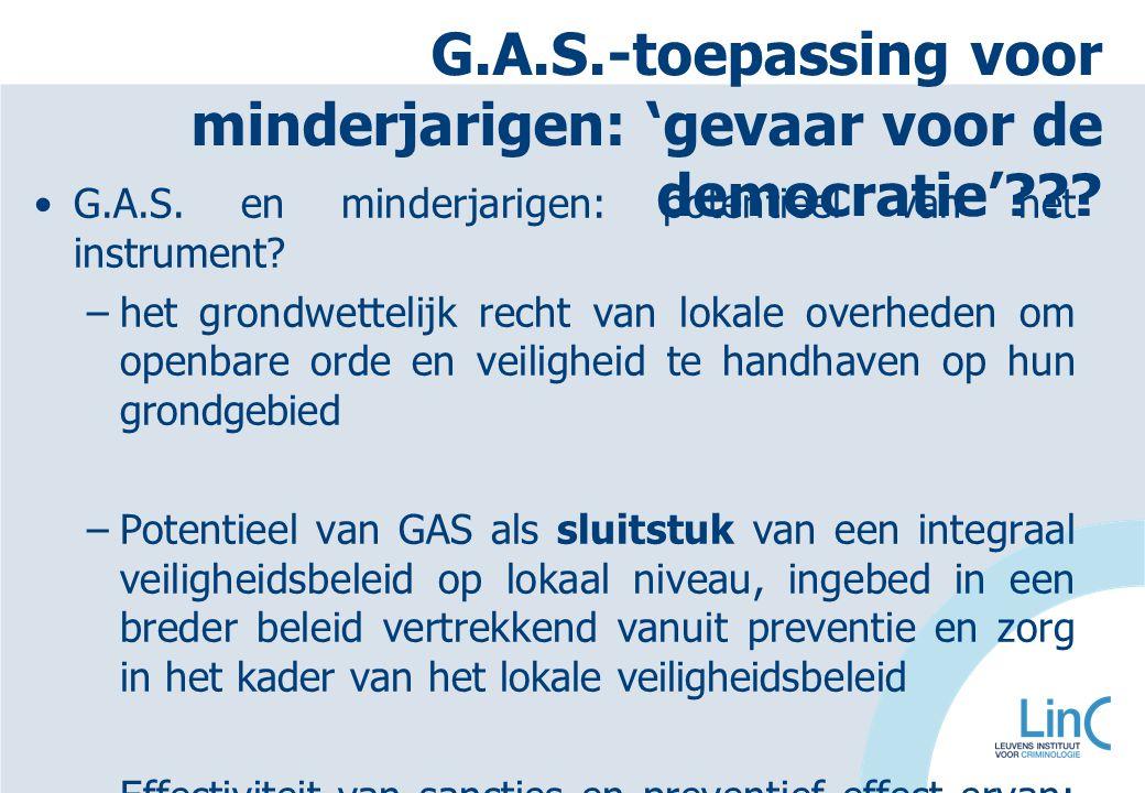 G.A.S.-toepassing voor minderjarigen: 'gevaar voor de democratie'