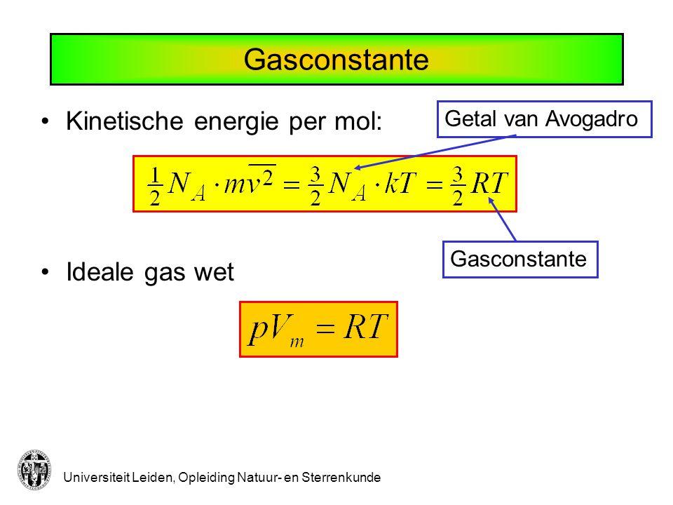 Thermodynamica Gedrag van macroscopische variabelen (energie, druk, volume, temperatuur,....) als er iets verandert: