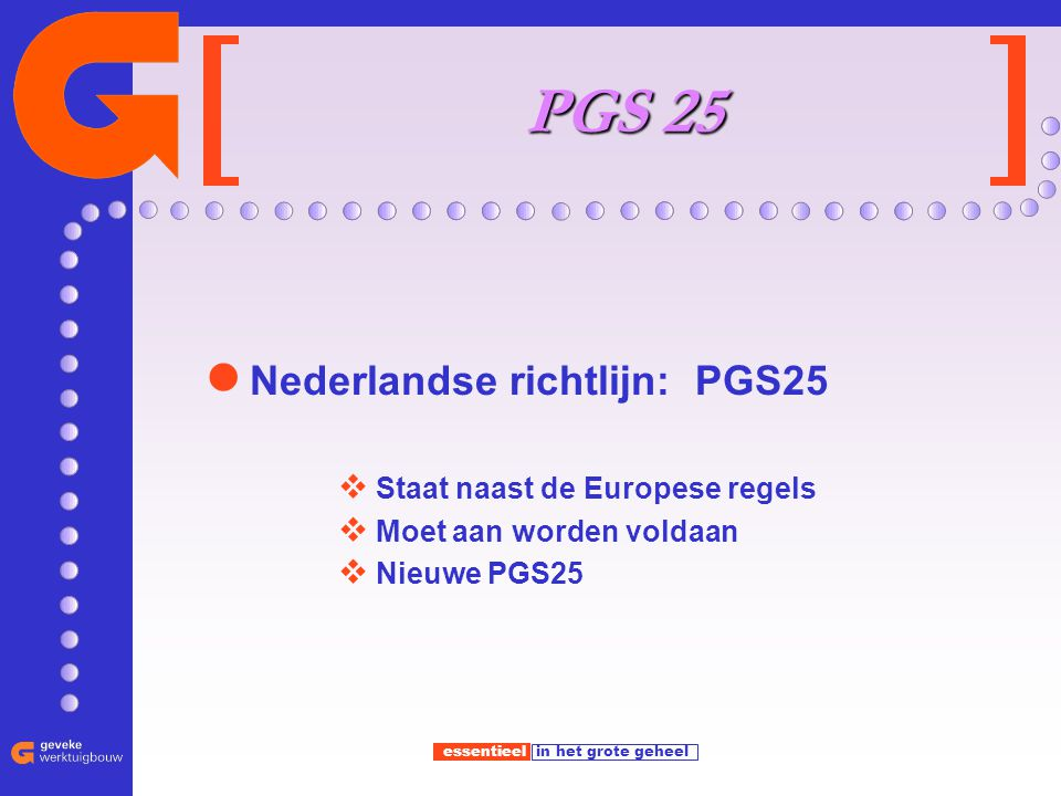 PGS 25 Nederlandse richtlijn: PGS25 Staat naast de Europese regels