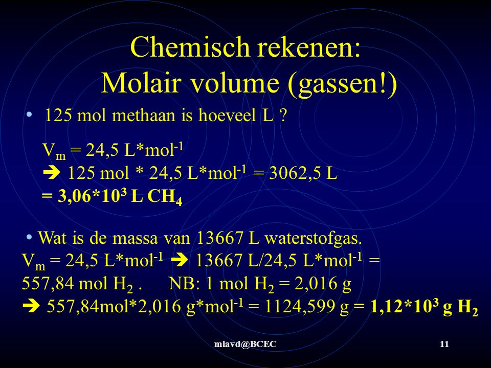 Chemisch rekenen: Molair volume (gassen!)