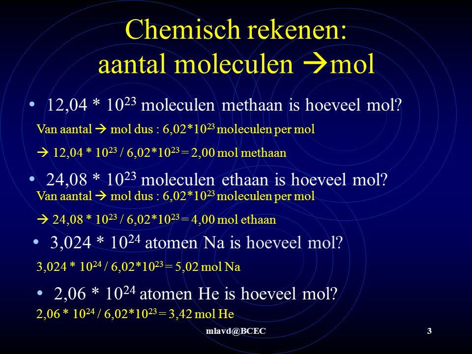 Chemisch rekenen: aantal moleculen mol