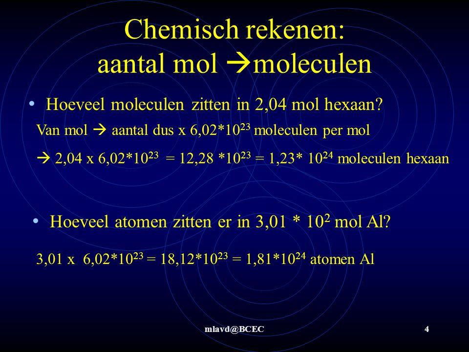 Chemisch rekenen: aantal mol moleculen