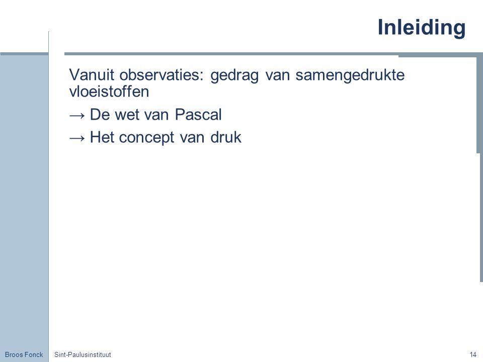 Inleiding Vanuit observaties: gedrag van samengedrukte vloeistoffen