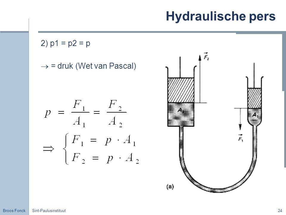 Hydraulische pers 2) p1 = p2 = p  = druk (Wet van Pascal) Title