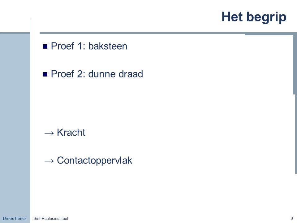 Het begrip Proef 1: baksteen Proef 2: dunne draad → Kracht