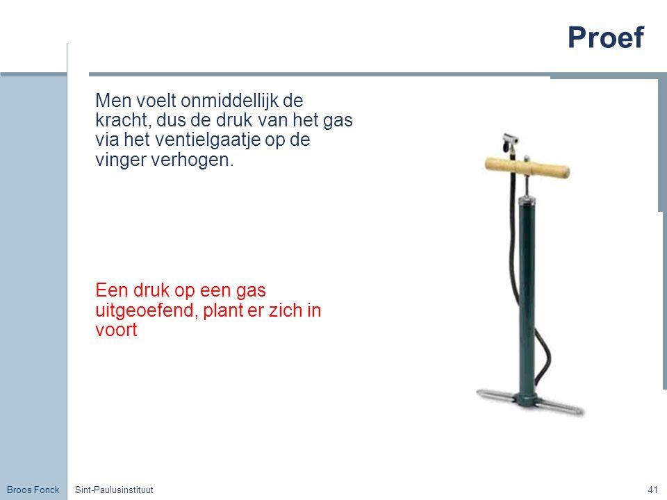 Proef Title. Men voelt onmiddellijk de kracht, dus de druk van het gas via het ventielgaatje op de vinger verhogen.