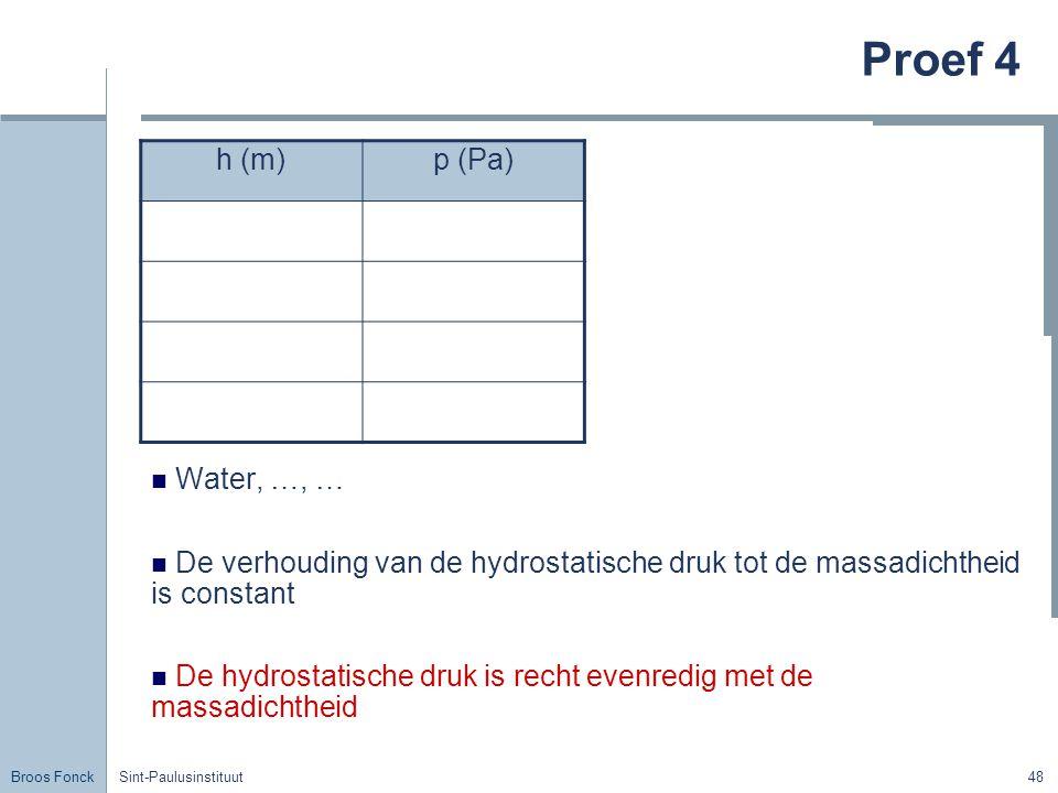 Proef 4 h (m) p (Pa) Water, …, …