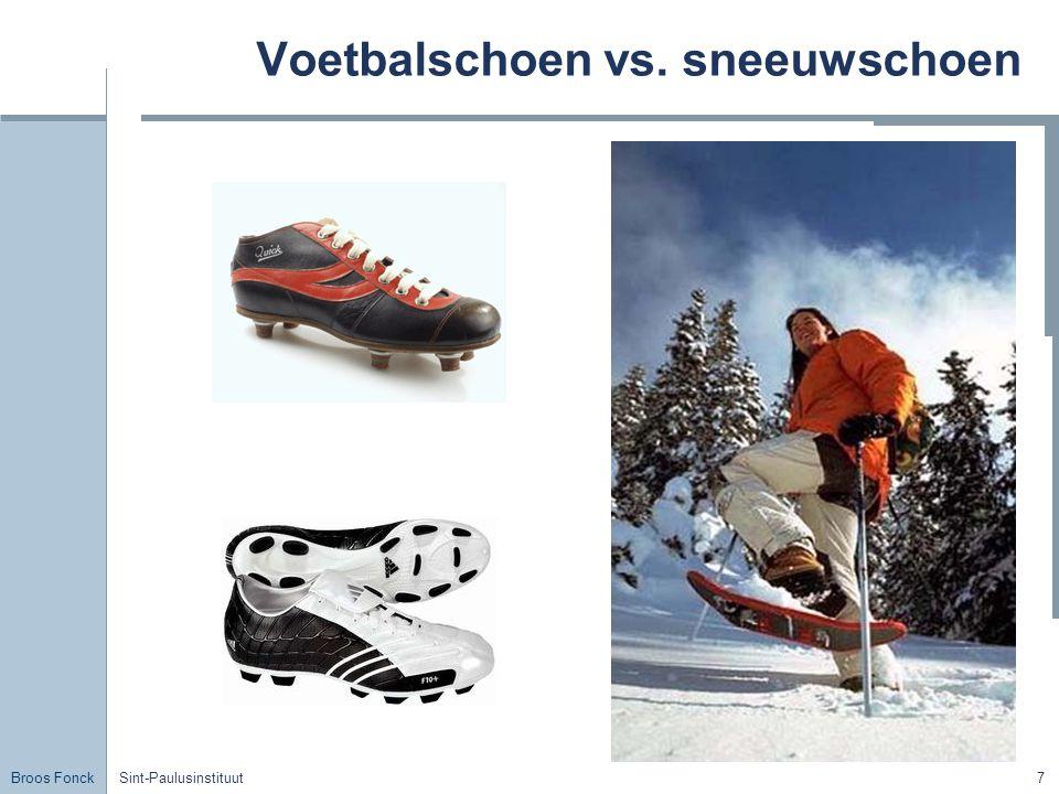 Voetbalschoen vs. sneeuwschoen