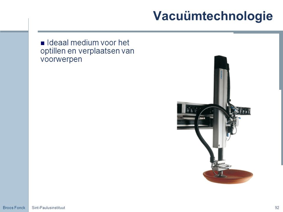 Vacuümtechnologie Title. Ideaal medium voor het optillen en verplaatsen van voorwerpen. Sint-Paulusinstituut.
