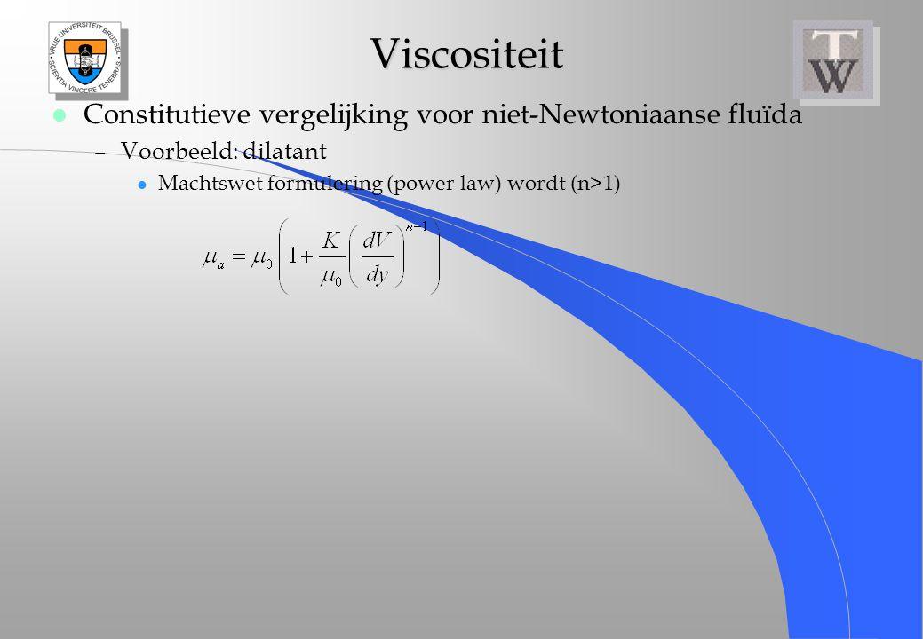 Viscositeit Constitutieve vergelijking voor niet-Newtoniaanse fluïda