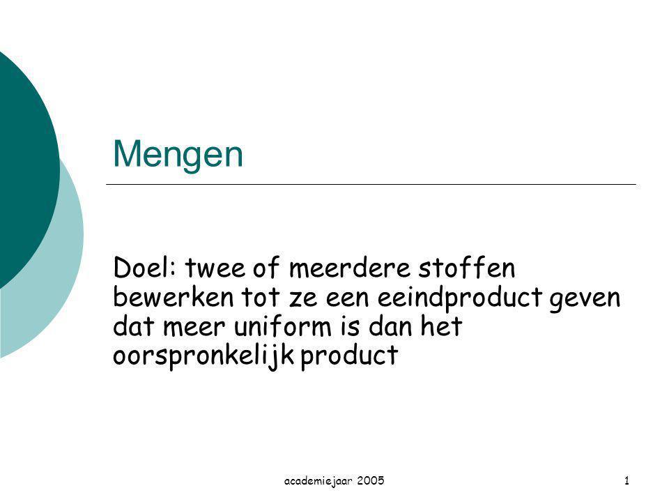 Mengen Doel: twee of meerdere stoffen bewerken tot ze een eeindproduct geven dat meer uniform is dan het oorspronkelijk product.