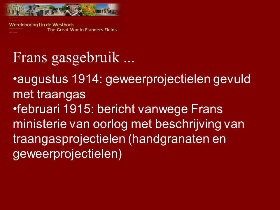 Frans gasgebruik ... augustus 1914: geweerprojectielen gevuld met traangas.