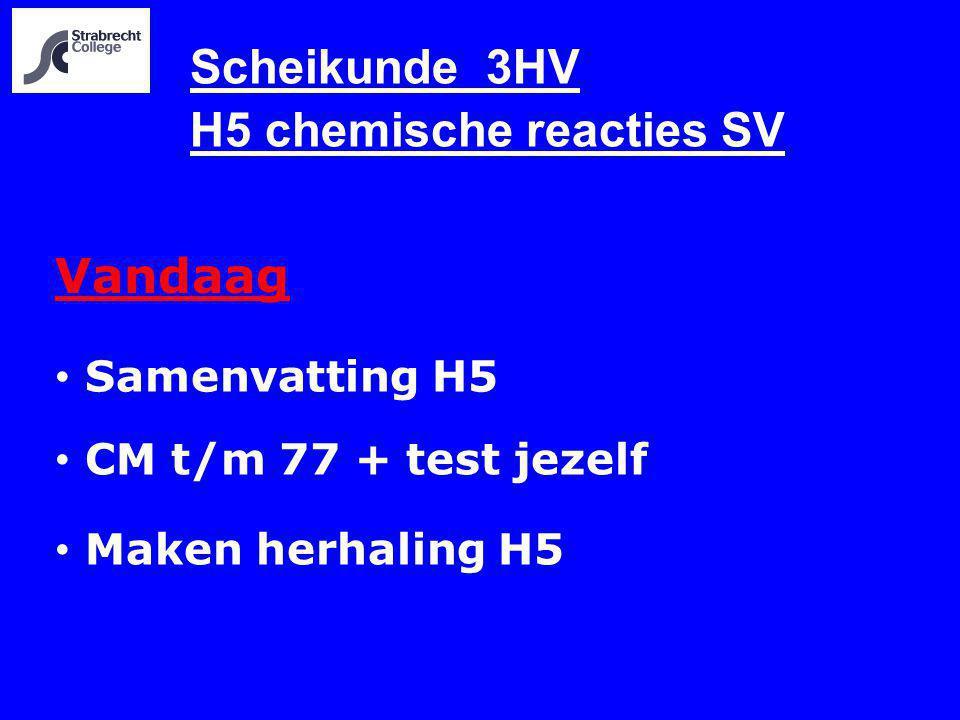 Scheikunde 3HV H5 chemische reacties SV