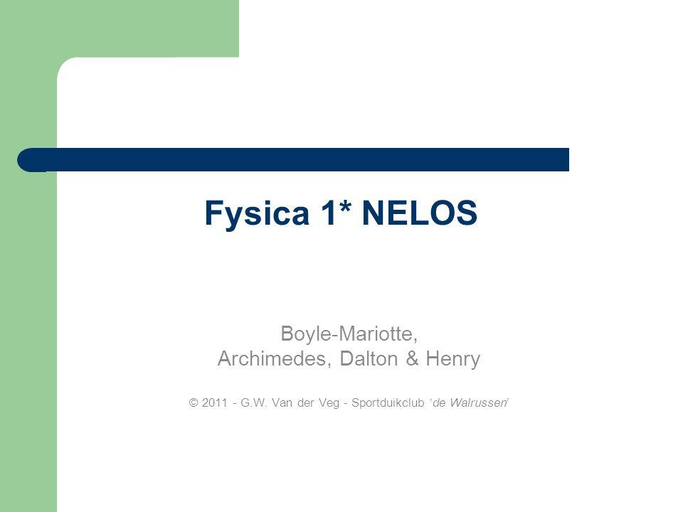 Fysica 1* NELOS Boyle-Mariotte, Archimedes, Dalton & Henry © 2011 - G.W.