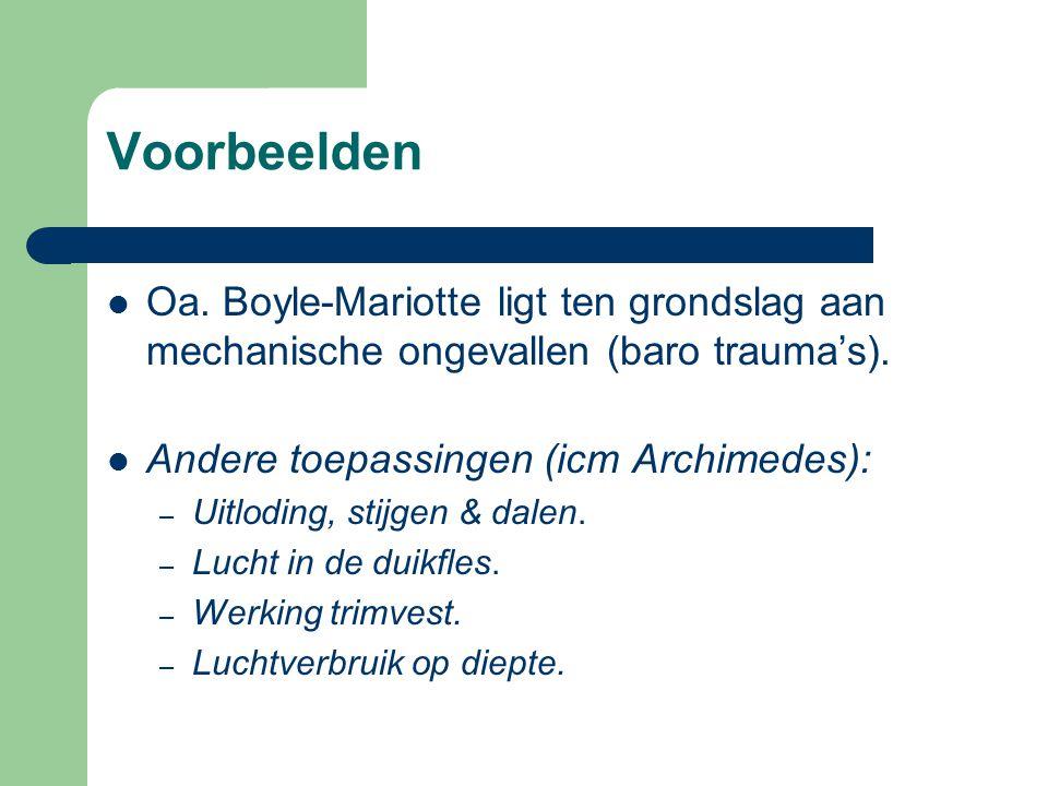 Voorbeelden Oa. Boyle-Mariotte ligt ten grondslag aan mechanische ongevallen (baro trauma's). Andere toepassingen (icm Archimedes):