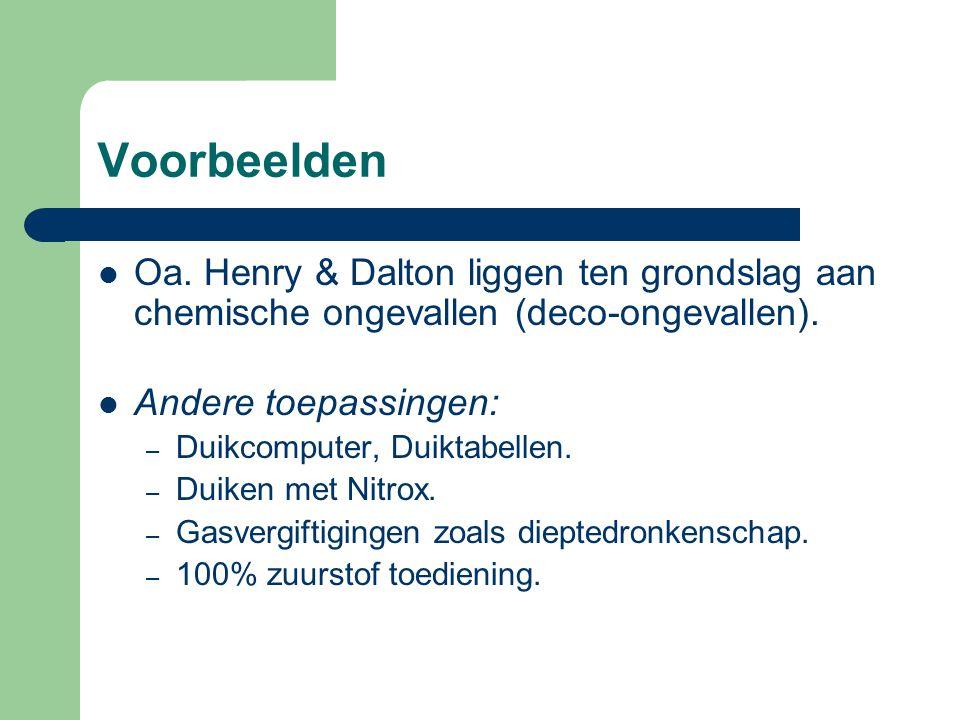 Voorbeelden Oa. Henry & Dalton liggen ten grondslag aan chemische ongevallen (deco-ongevallen). Andere toepassingen: