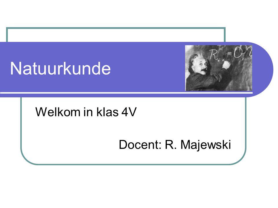Welkom in klas 4V Docent: R. Majewski