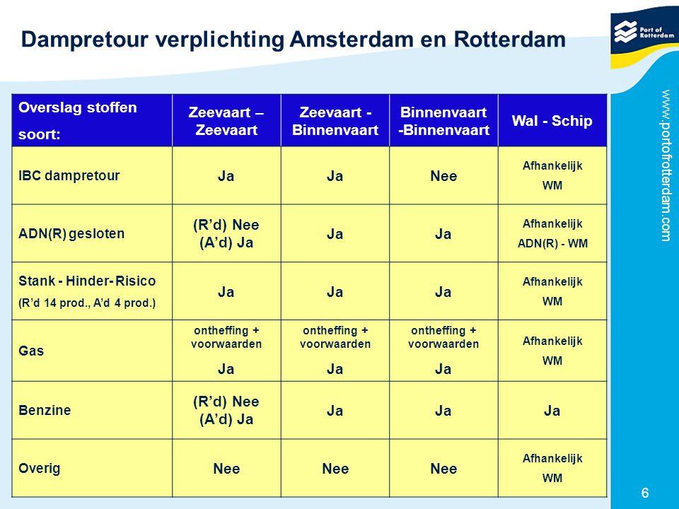 Dampretour verplichting Amsterdam en Rotterdam