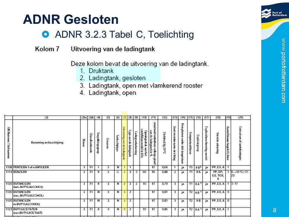 ADNR Gesloten ADNR 3.2.3 Tabel C, Toelichting www.portofrotterdam.com
