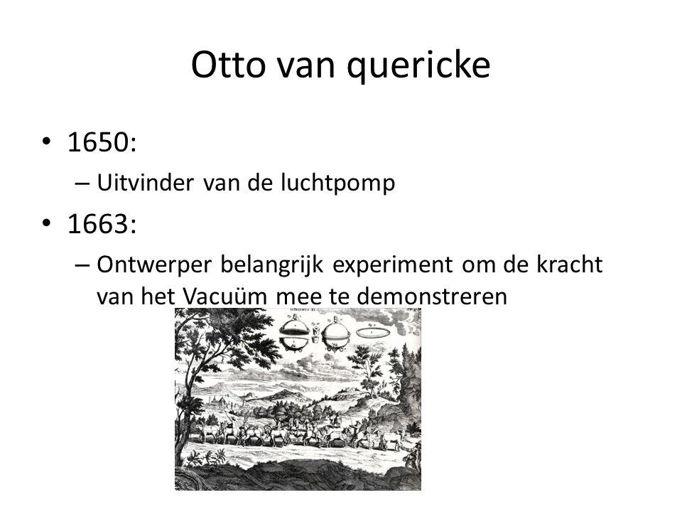 Otto van quericke 1650: 1663: Uitvinder van de luchtpomp