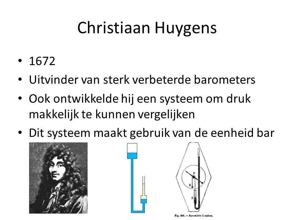 Christiaan Huygens 1672 Uitvinder van sterk verbeterde barometers