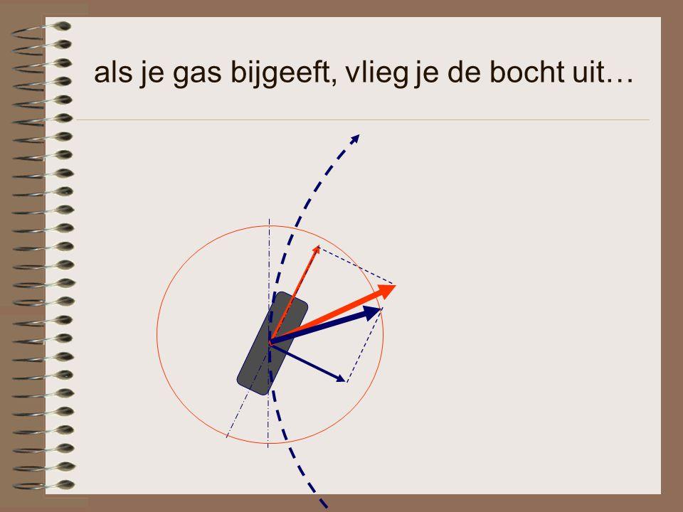 als je gas bijgeeft, vlieg je de bocht uit…