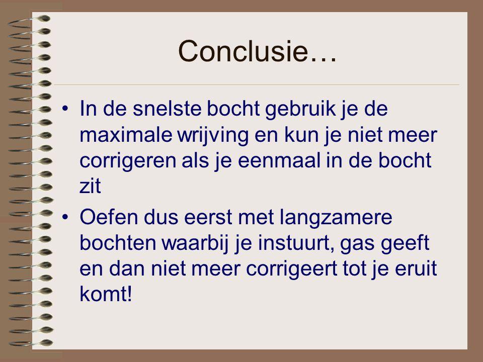 Conclusie… In de snelste bocht gebruik je de maximale wrijving en kun je niet meer corrigeren als je eenmaal in de bocht zit.