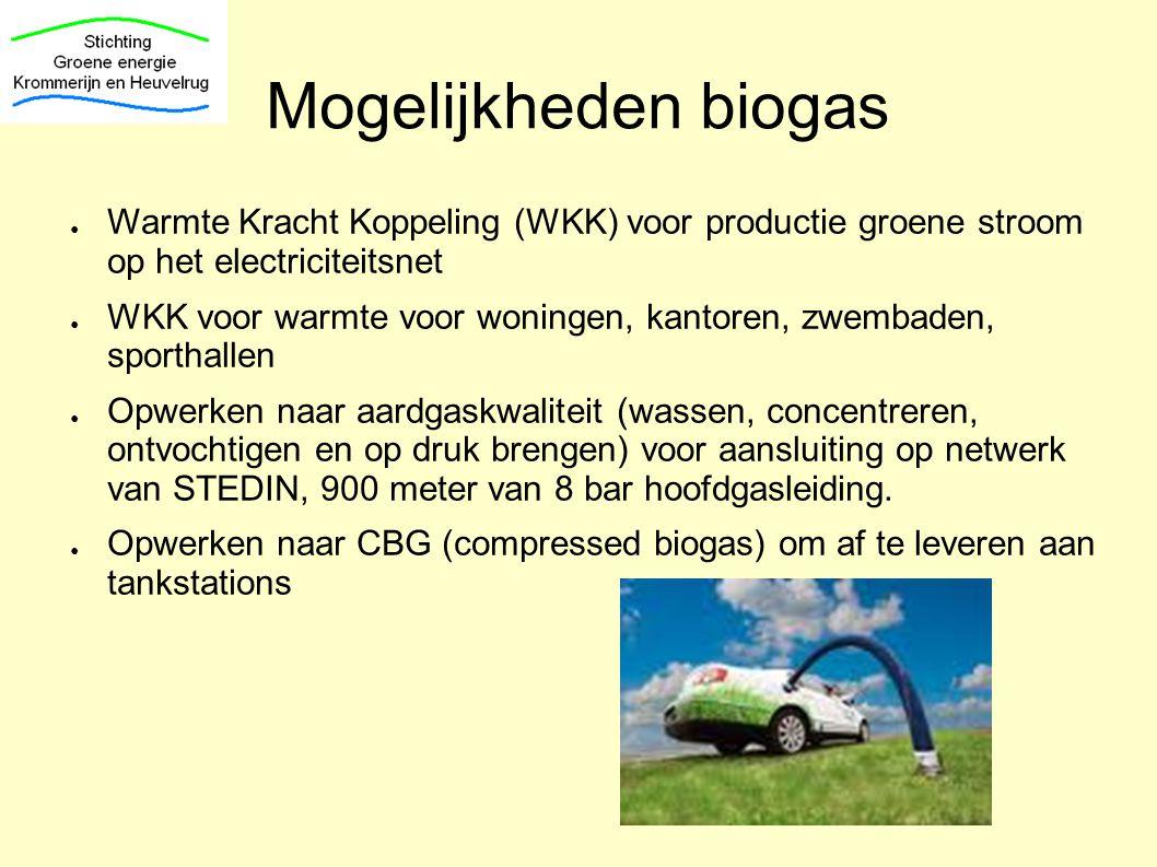 Mogelijkheden biogas Warmte Kracht Koppeling (WKK) voor productie groene stroom op het electriciteitsnet.