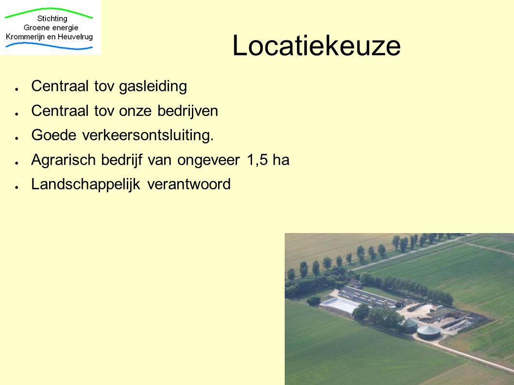 Locatiekeuze Centraal tov gasleiding Centraal tov onze bedrijven