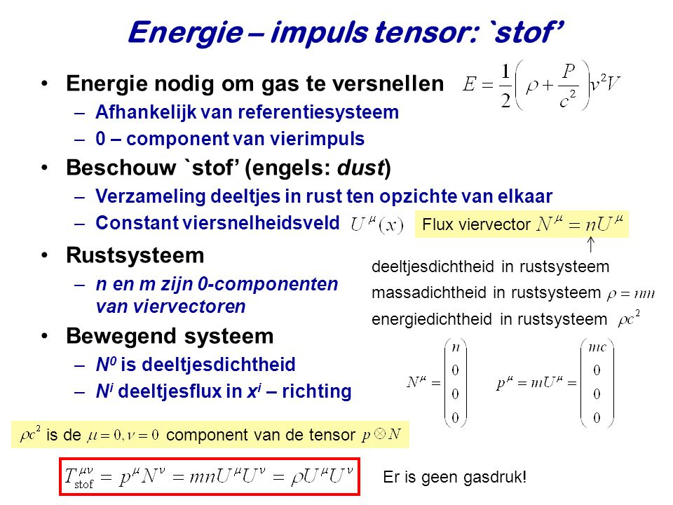 Energie – impuls tensor: `stof'