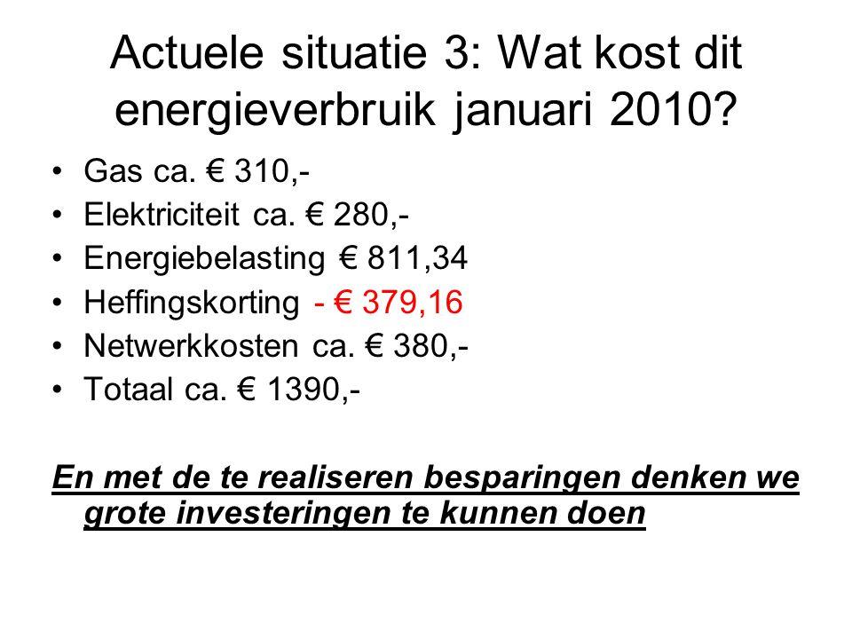 Actuele situatie 3: Wat kost dit energieverbruik januari 2010