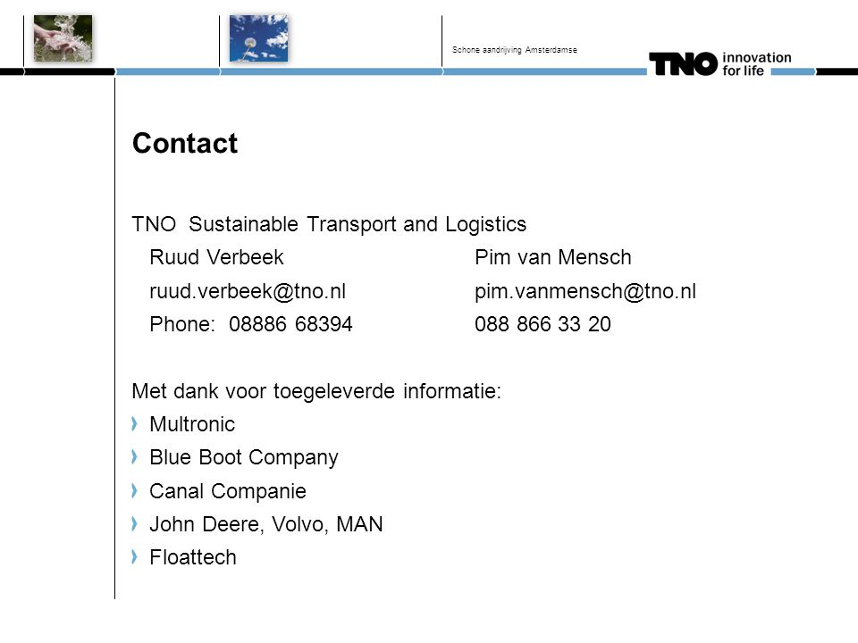 Contact TNO Sustainable Transport and Logistics