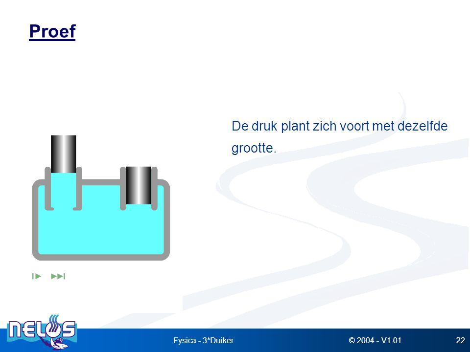 Proef De druk plant zich voort met dezelfde grootte. Fysica - 3*Duiker