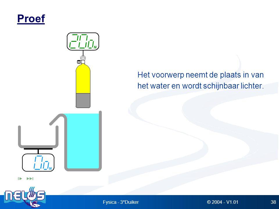 Proef Het voorwerp neemt de plaats in van het water en wordt schijnbaar lichter. Fysica - 3*Duiker.