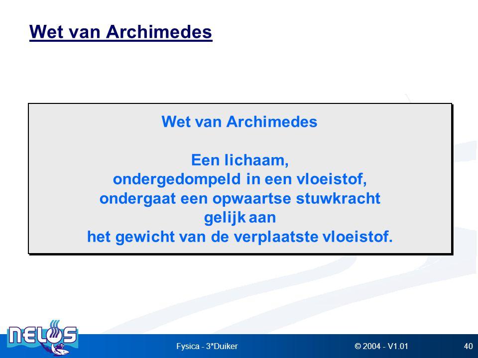 Wet van Archimedes Wet van Archimedes Een lichaam,
