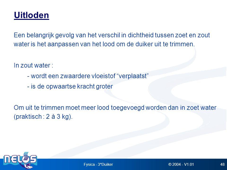 Uitloden Een belangrijk gevolg van het verschil in dichtheid tussen zoet en zout water is het aanpassen van het lood om de duiker uit te trimmen.