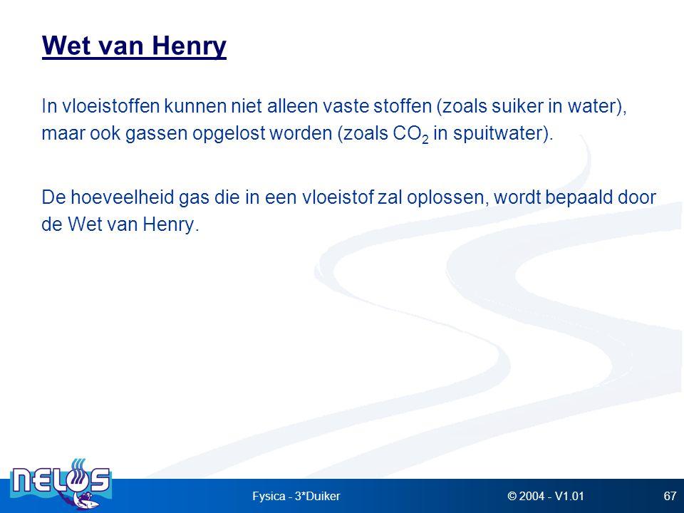 Wet van Henry In vloeistoffen kunnen niet alleen vaste stoffen (zoals suiker in water), maar ook gassen opgelost worden (zoals CO2 in spuitwater).