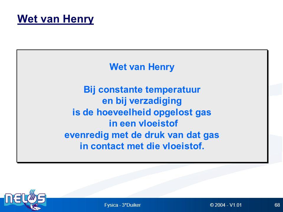 Wet van Henry Wet van Henry Bij constante temperatuur