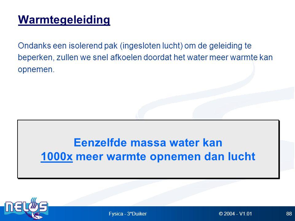 Eenzelfde massa water kan 1000x meer warmte opnemen dan lucht