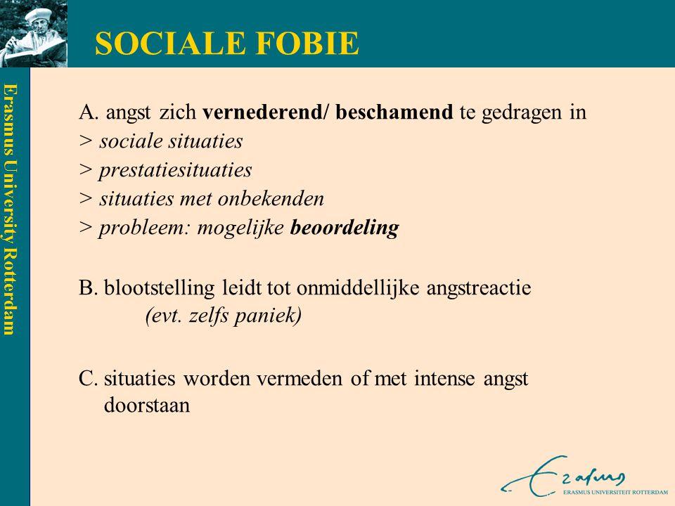 SOCIALE FOBIE A. angst zich vernederend/ beschamend te gedragen in