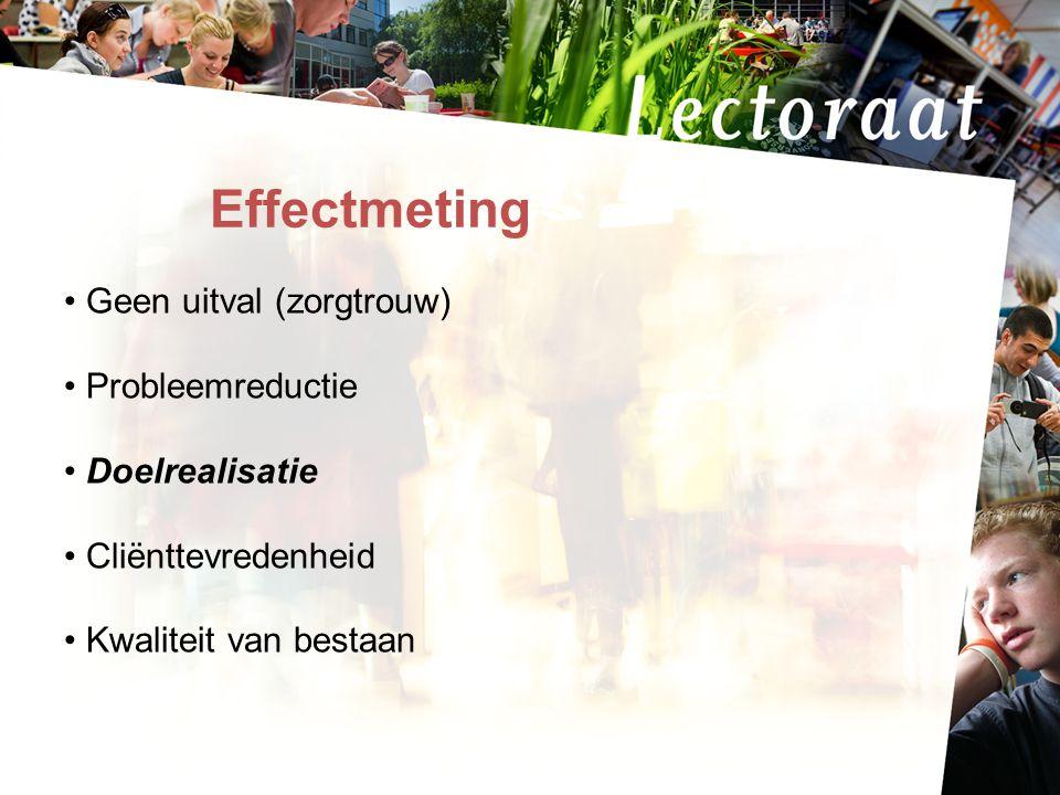 Effectmeting Geen uitval (zorgtrouw) Probleemreductie Doelrealisatie