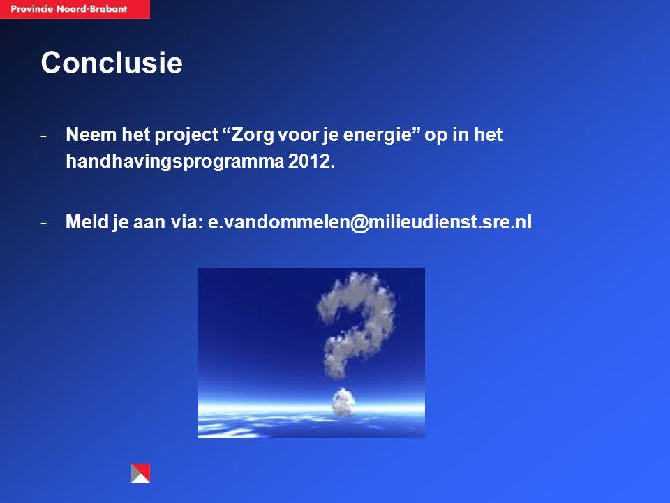 Conclusie Neem het project Zorg voor je energie op in het handhavingsprogramma 2012.