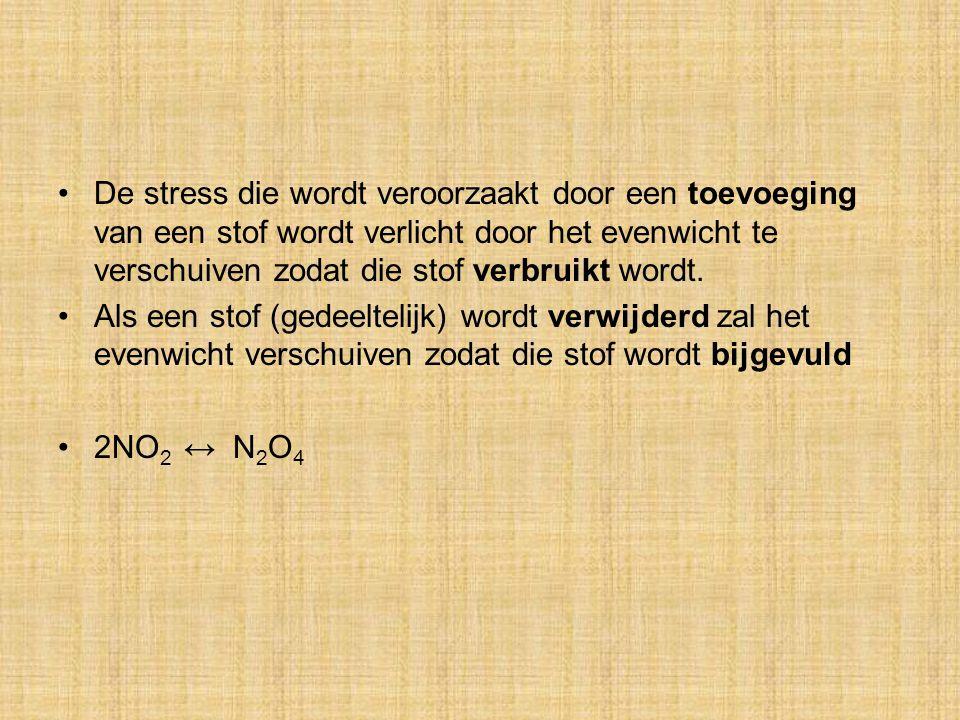 De stress die wordt veroorzaakt door een toevoeging van een stof wordt verlicht door het evenwicht te verschuiven zodat die stof verbruikt wordt.