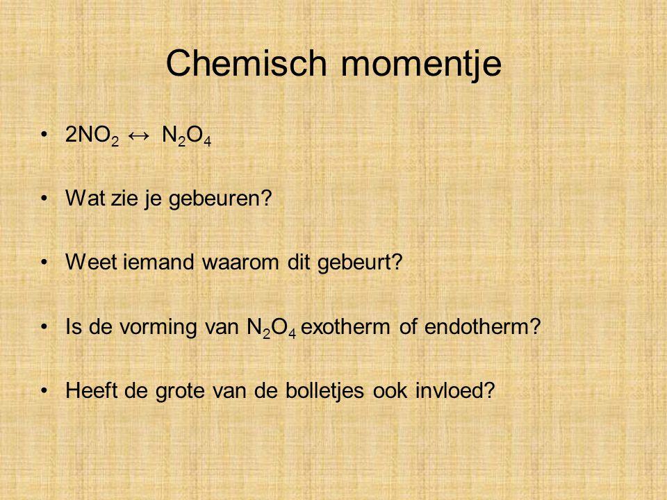 Chemisch momentje 2NO2 ↔ N2O4 Wat zie je gebeuren
