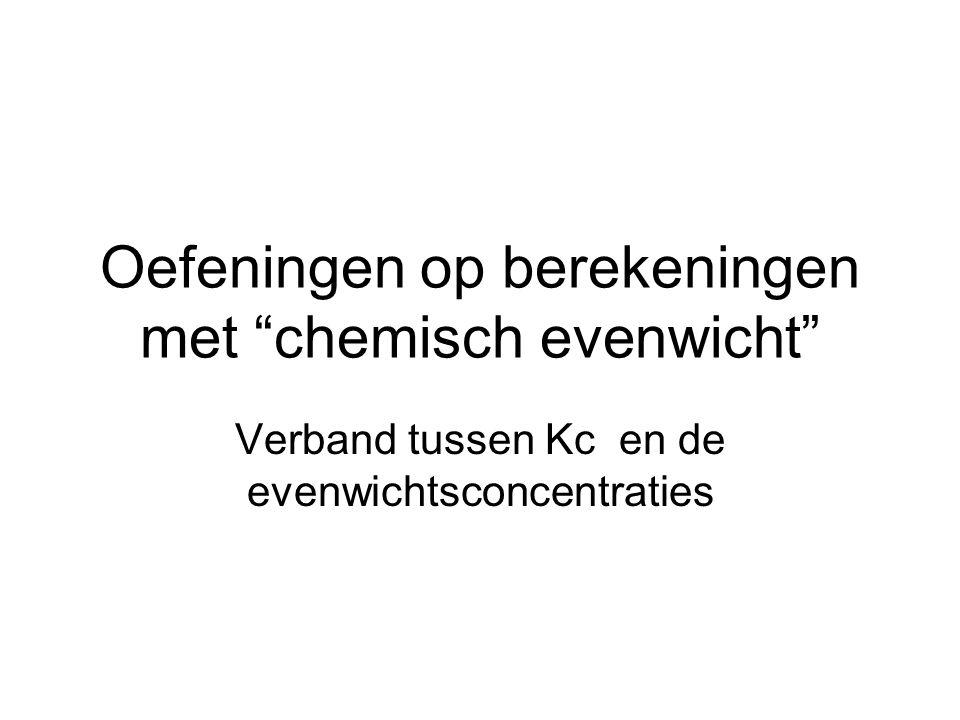 Oefeningen op berekeningen met chemisch evenwicht
