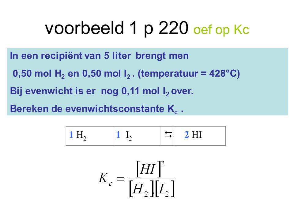 voorbeeld 1 p 220 oef op Kc In een recipiënt van 5 liter brengt men