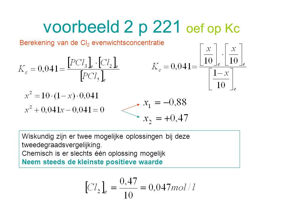 voorbeeld 2 p 221 oef op Kc Berekening van de Cl2 evenwichtsconcentratie.